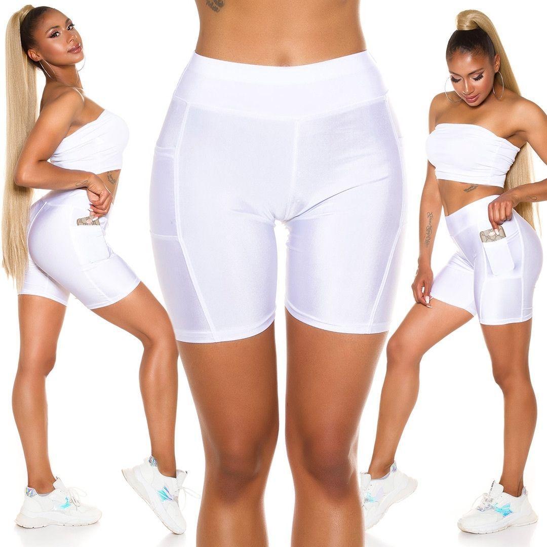 Pantalón deportivo ajustado blanco