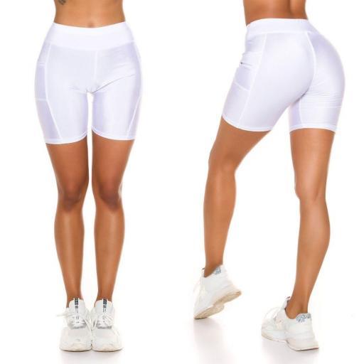 Pantalón deportivo ajustado blanco [1]