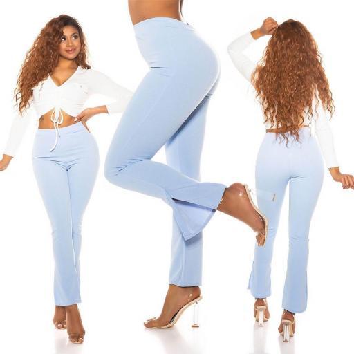 Pantalón de moda con cintura alta azul