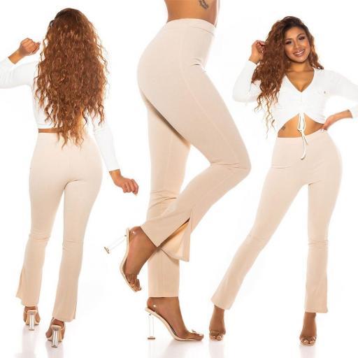 Pantalón de moda con cintura alta beige