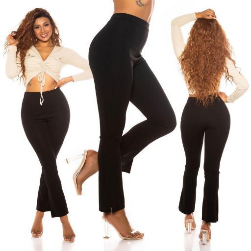Pantalón de moda con cintura alta negro