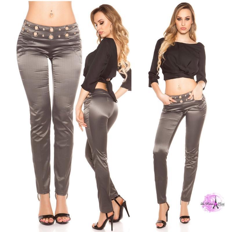 Pantalón elegante a rayas antracita