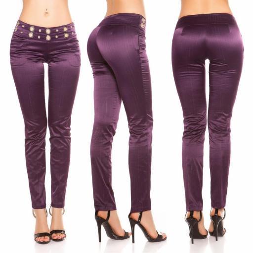 Pantalón púrpura con tela a rayas [1]