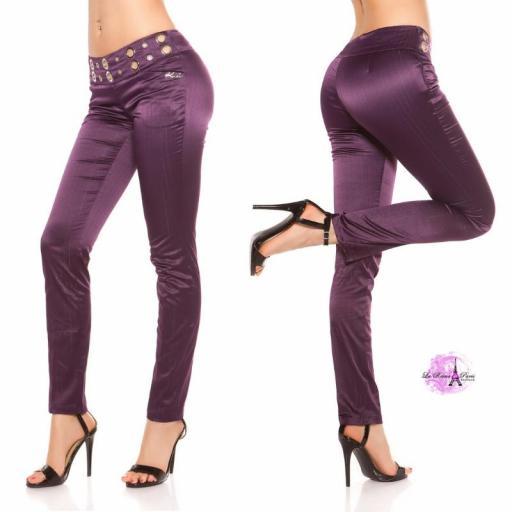Pantalón púrpura con tela a rayas [2]