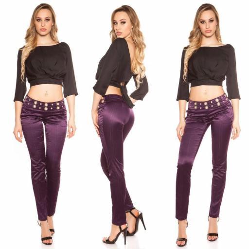 Pantalón púrpura con tela a rayas [3]