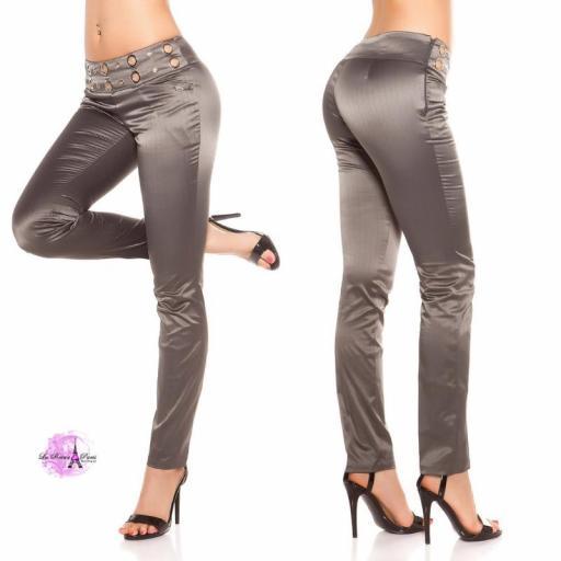 Pantalón elegante a rayas antracita [2]
