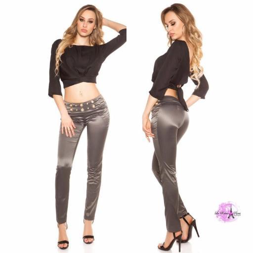 Pantalón elegante a rayas antracita [3]