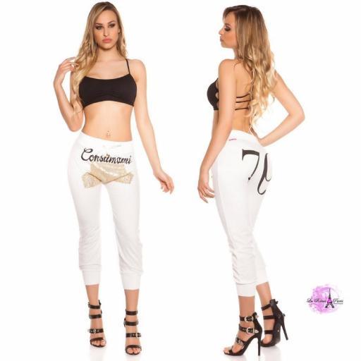 Pantalón jogging lentejuelas blanco [3]