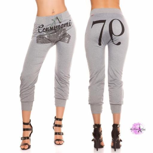 Pantalón jogging lentejuelas gris [1]