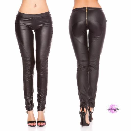 Pantalón pitillo con cremallera negro [1]