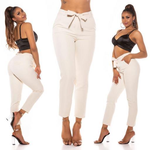 Elegante pantalón paper bag beige