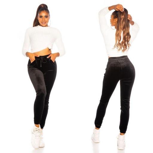 Pantalón deportivo terciopelo negro [3]