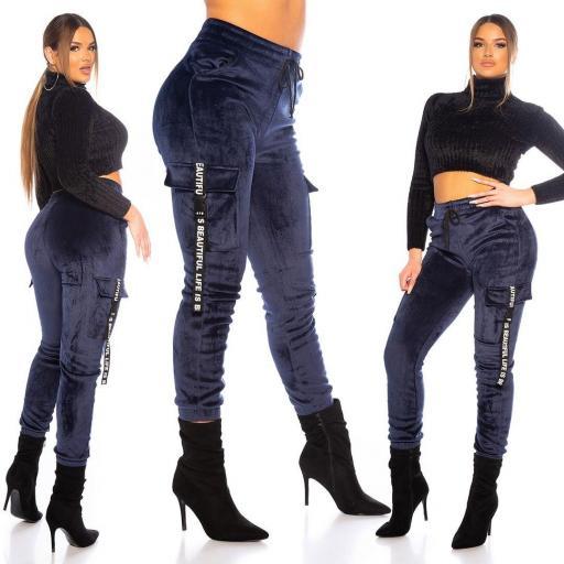 Pantalón térmico sport cargo azul