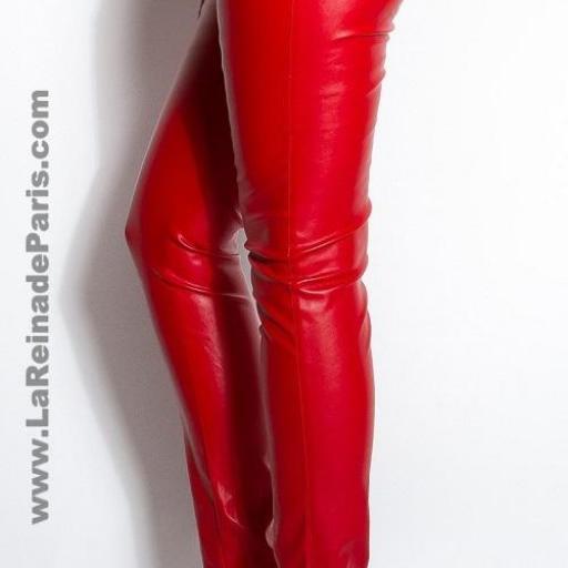 Pantalones ajustados cuero rojo Kate [2]