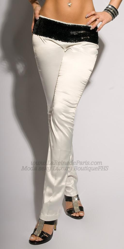 Pantalones blancos ajustados Oferta