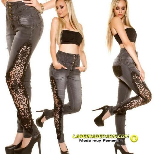 Pantalones vaqueros skinny con encaje [1]