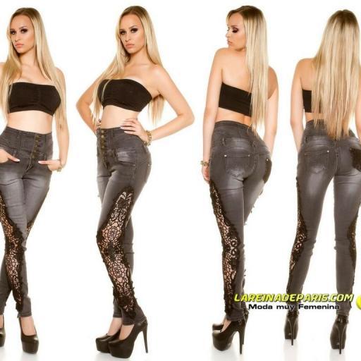 Pantalones vaqueros skinny con encaje [2]
