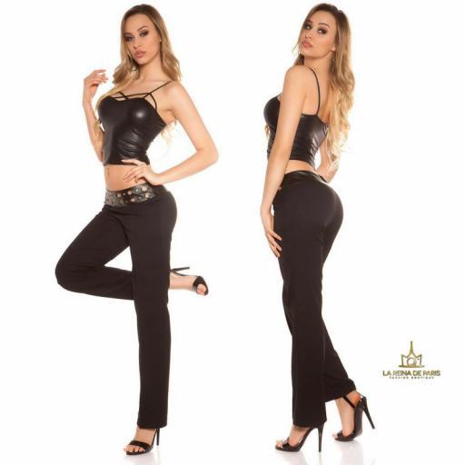 Pantalones rectos negro con cuero [2]