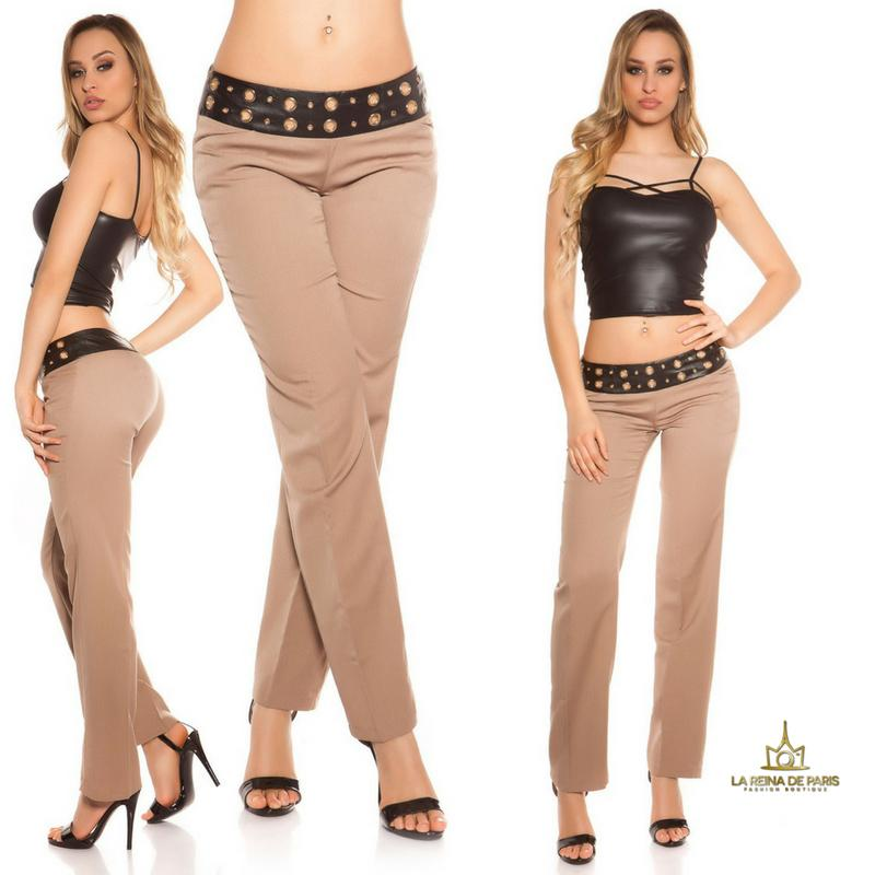 Pantalones rectos capuchino