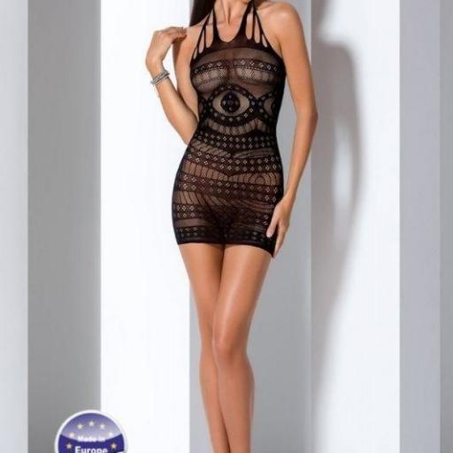 Vestido negro erótico de malla
