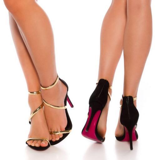 Sandalias negras de tacón 11,5 cm