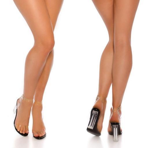 Sandalias negras transparentes