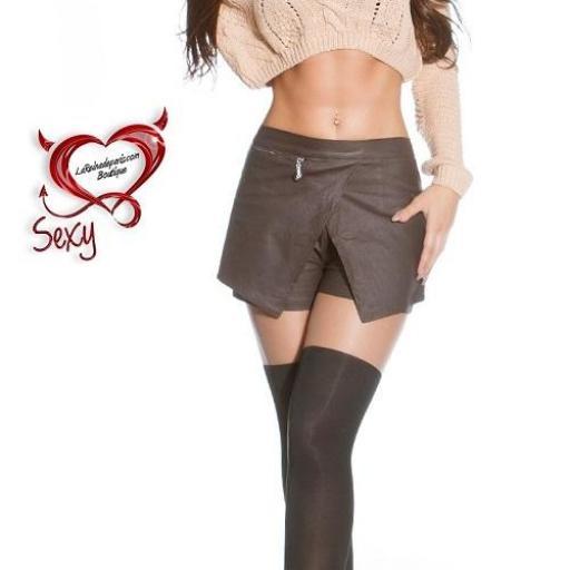 Pantalones falda de moda marrón [1]
