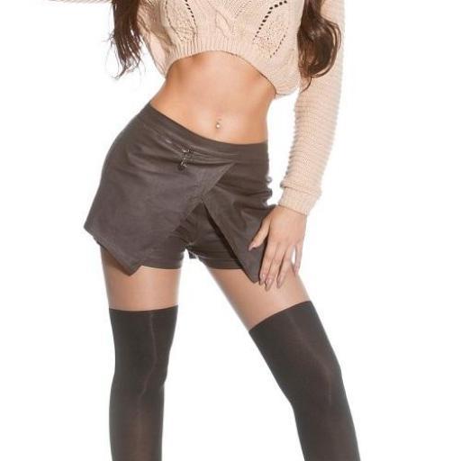 Pantalones falda de moda marrón [3]