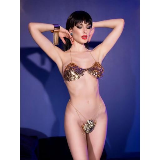 Lencería sexy de joyas corporales oro