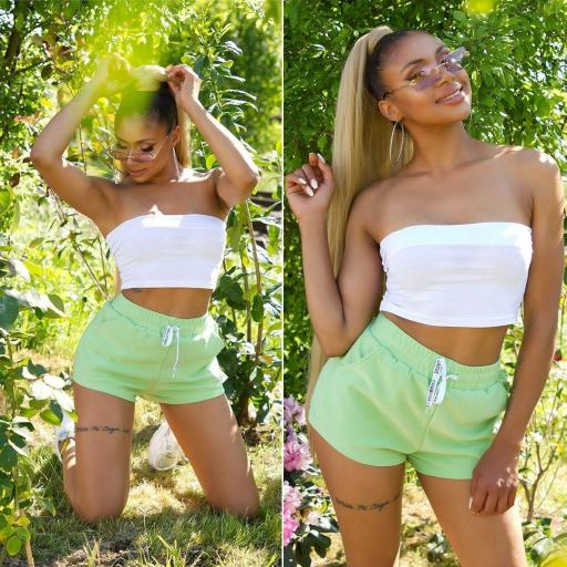 Short con bolsillos verde