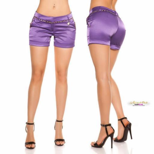 Shorts púrpura satinados con leopardo [1]