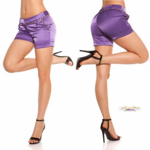 Shorts púrpura satinados con leopardo [2]