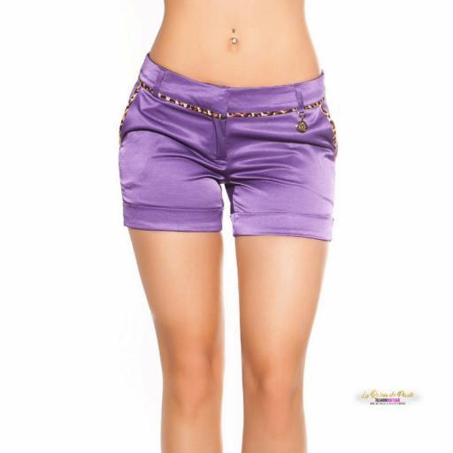 Shorts púrpura satinados con leopardo [3]