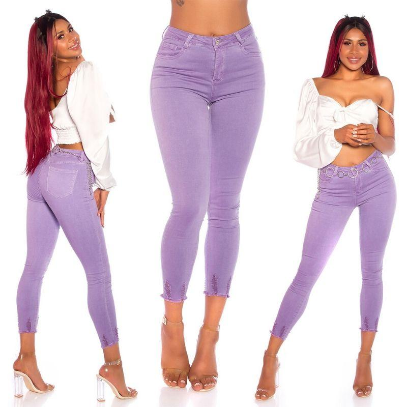 Skinny Jeans de cintura alta lila