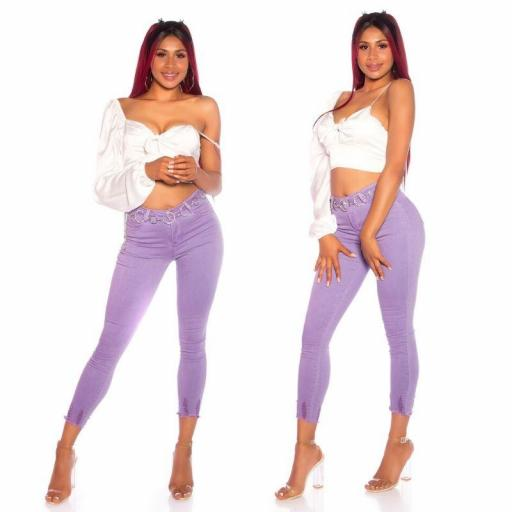 Skinny Jeans de cintura alta lila [1]