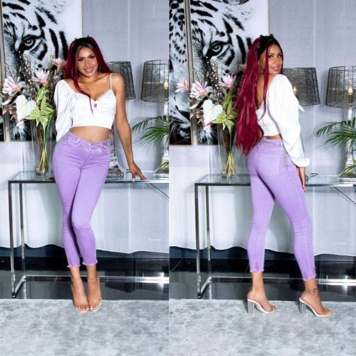 Skinny Jeans de cintura alta lila [2]