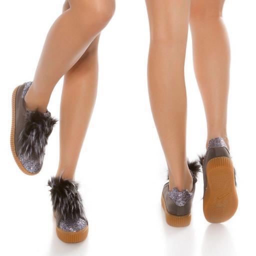Zapatillas purpurina antracita