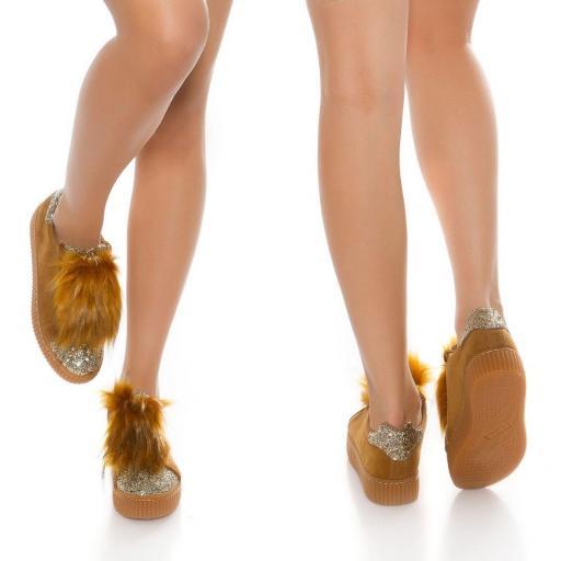 Zapatillas purpurina bronce