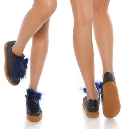 Zapatillas purpurina azul
