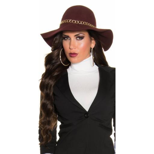 Sombrero con cadena decorativa burdeos