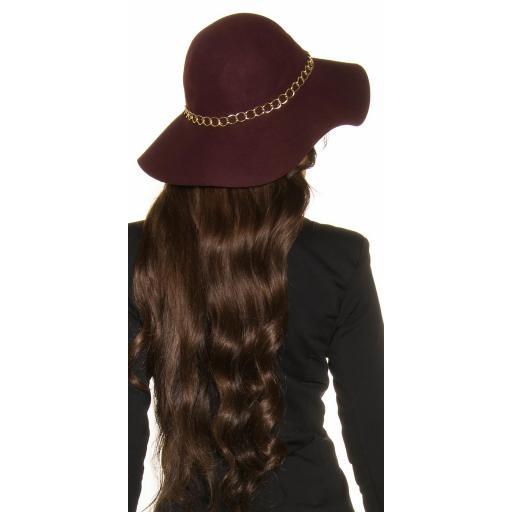 Sombrero con cadena decorativa burdeos [1]