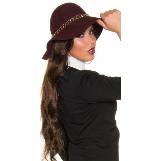 Sombrero con cadena decorativa burdeos [3]