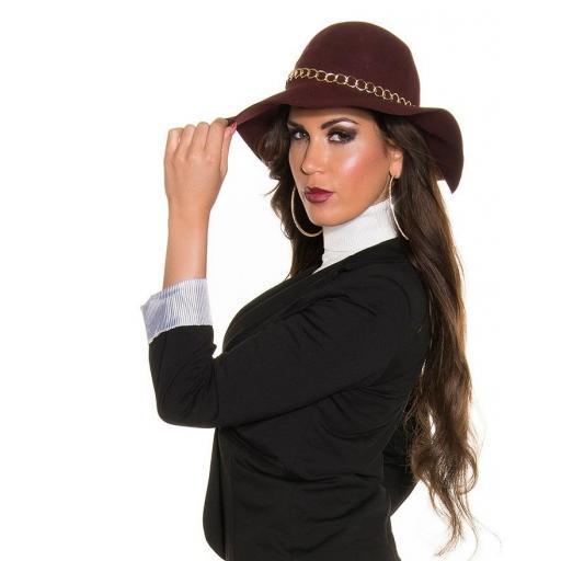 Sombrero con cadena decorativa burdeos [2]