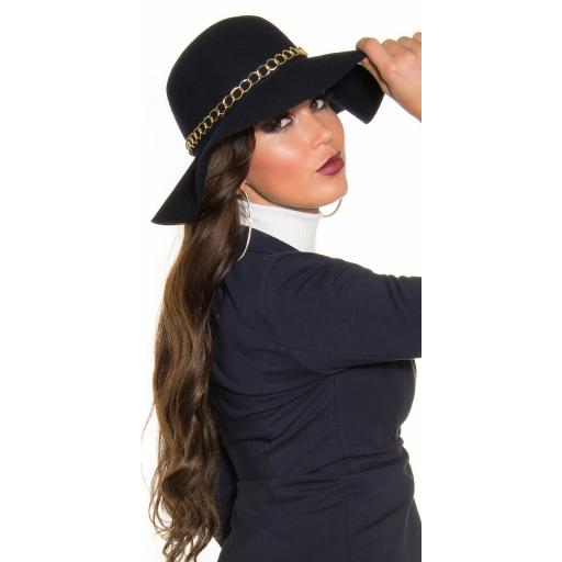 Sombrero con cadena decorativa azul [2]
