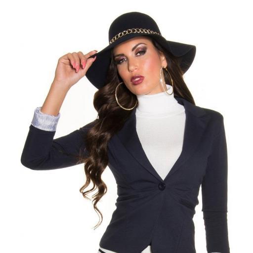 Sombrero con cadena decorativa azul [3]