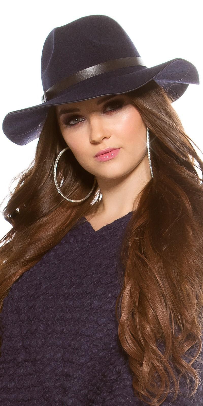 Sombrero boho de fieltro color azul