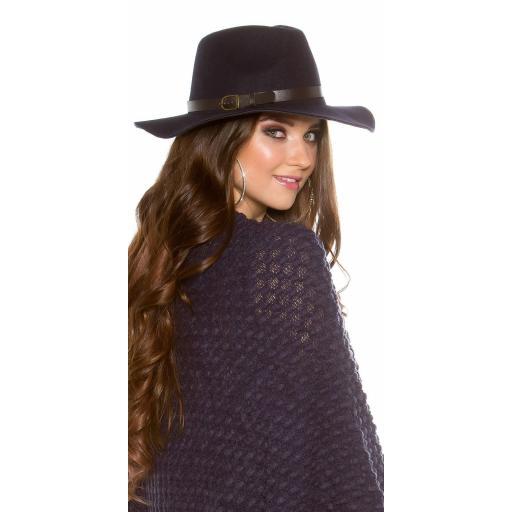 Sombrero boho de fieltro color azul [1]