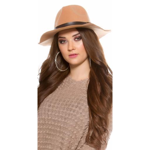 Sombrero boho de fieltro color beige