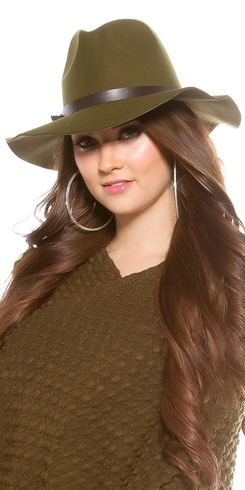 Sombrero boho de fieltro color khaki
