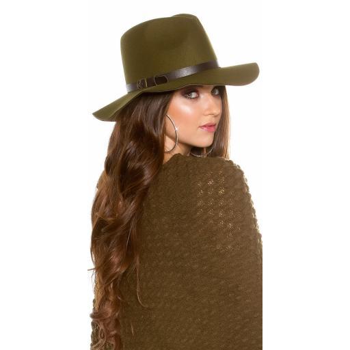 Sombrero boho de fieltro color khaki [1]